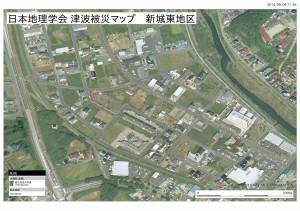 日本地理学会津波被災マップ(新城東)震災前