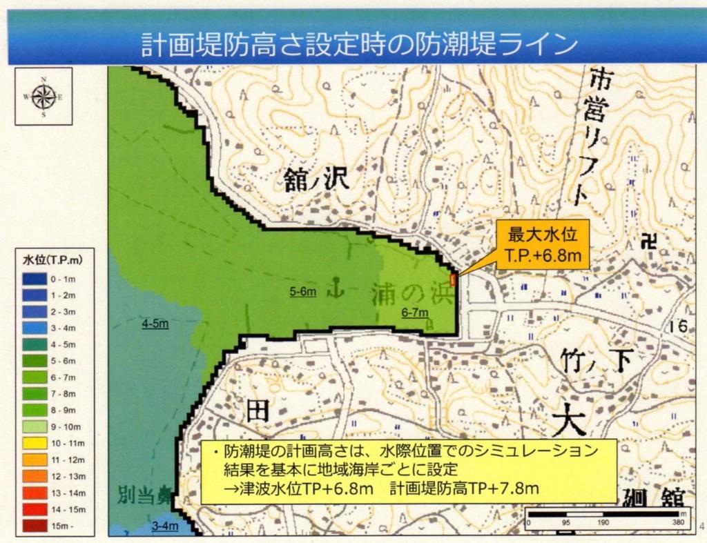 当初の堤防位置設定(シミュレーション)